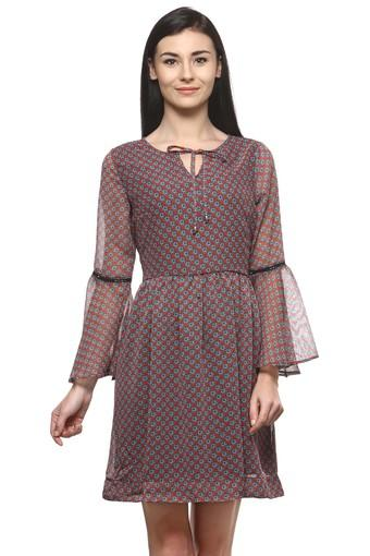 Womens Tie Up Neck Printed Skater Dress