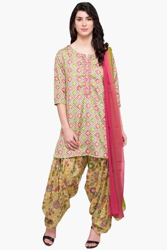 d38623fcdc Buy STOP Womens Round Neck Printed Patiala Suit   Shoppers Stop