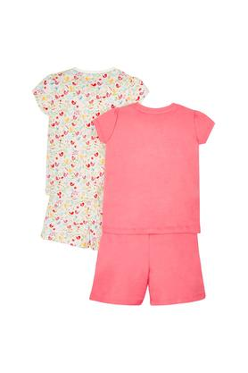 Girls Round Neck Floral Print Shorts and Top - Pack Of 2