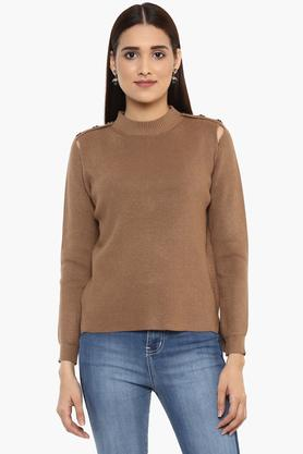 GIPSYWomens High Neck Slub Sweater