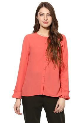 Womens Henley Neck Solid Shirt