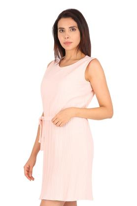 Womens Round Neck Solid Midi Dress