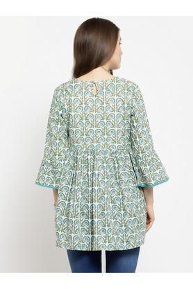 Womens V Neck Printed Tunic