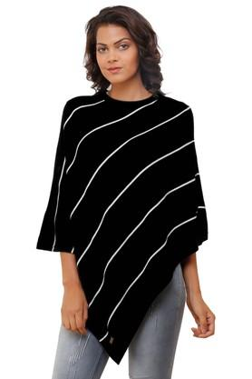 PLUCHI Womens Round Neck Stripe Poncho