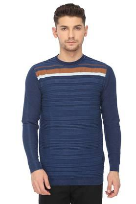 PEPE Mens Round Neck Stripe Sweater