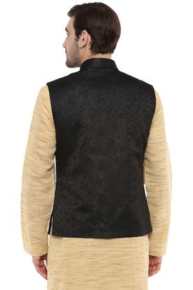 Mens Mao Collar Self Pattern Nehru Jacket