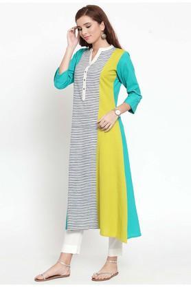 Womens Mandarin Neck Striped Kurta and Pant Set