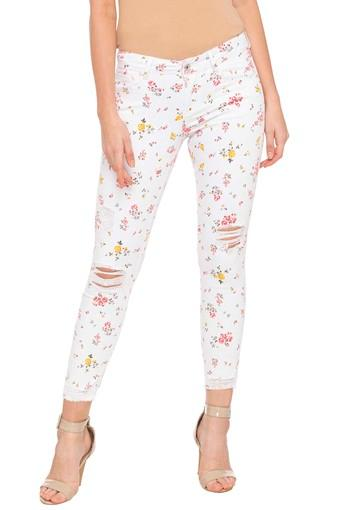 Womens 5 Pocket Printed Jeans