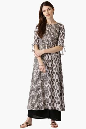 LIBAS Womens Cotton Printed A-Line Kurta - 203862730