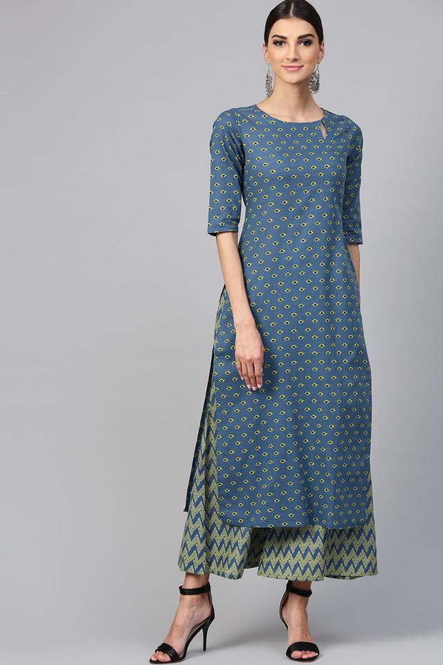 Womens Key Hole Neck Printed Kurta and Palazzo Set