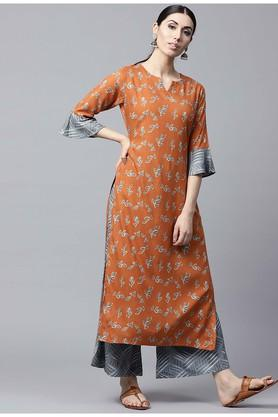 GERUA Women Rayon Printed Straight Kurta With Rayon Printed Palazzo