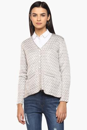 APSLEY Womens V Neck Printed Knitted Cardigan