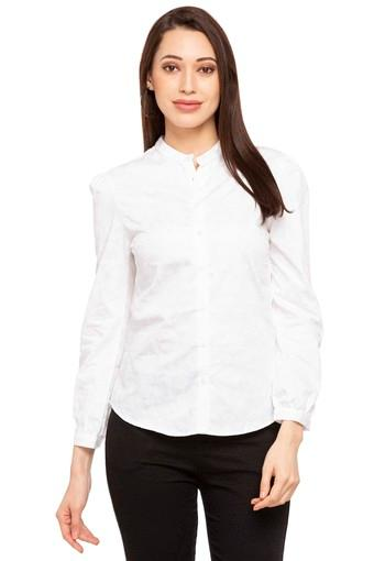 Womens Band Collar Printed Casual Shirt