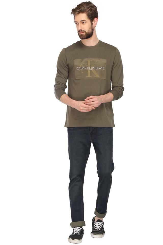 c66e129059e9 Buy CALVIN KLEIN JEANS Mens Round Neck Printed T-Shirt   Shoppers Stop