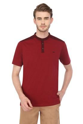 Mens Mandarin Collar Slub T-Shirt