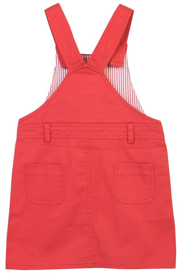 Girls Square Neck Solid Dungaree Dress