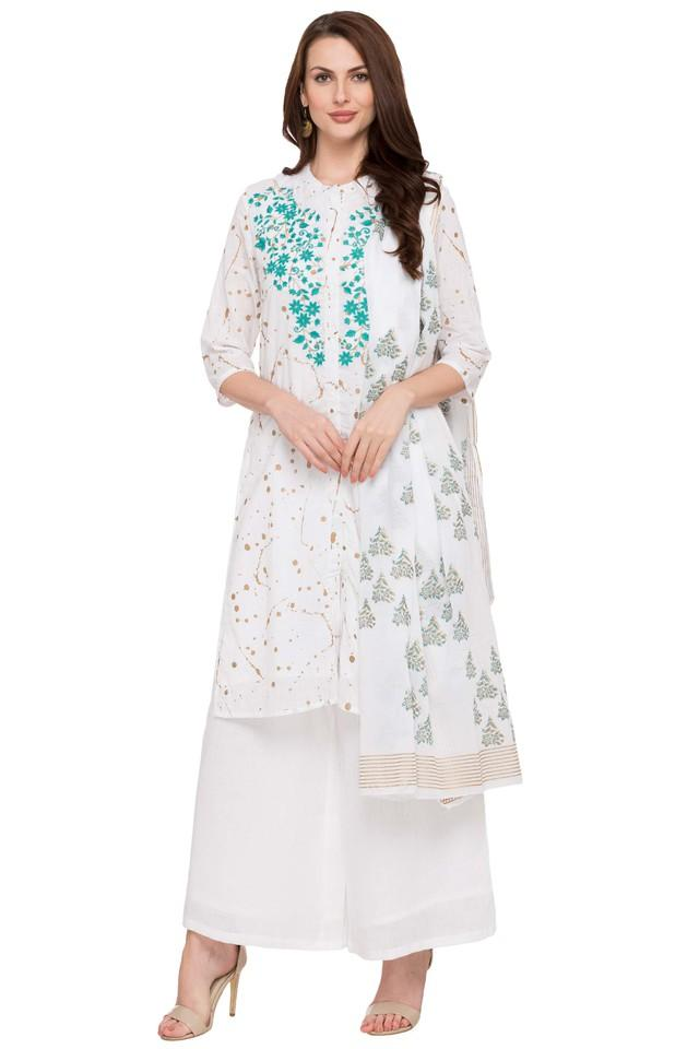 Womens Band Neck Embroidered Palazzo Suit