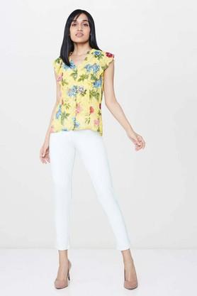 Womens Mandarin Neck Printed Top