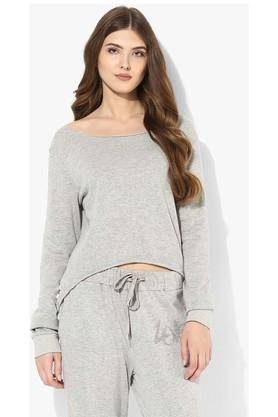 LOVE GENRATION Womens Round Neck Slub Sweatshirt