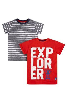 Boys Round Neck Striped and Graphic Print Tee - Pack of 2