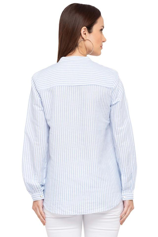 Womens Mandarin Collar Striped Shirt
