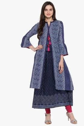 JUNIPER Womens Embroidered A-Line Kurta With Contrast Piping And Lace Detailing - 204030242_9308