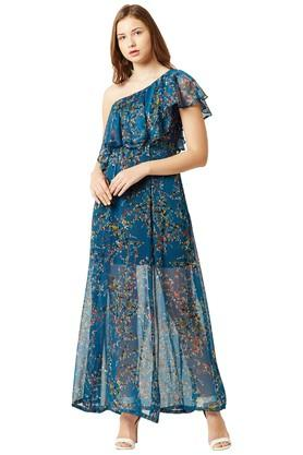 Womens One Shoulder Printed Maxi Dress