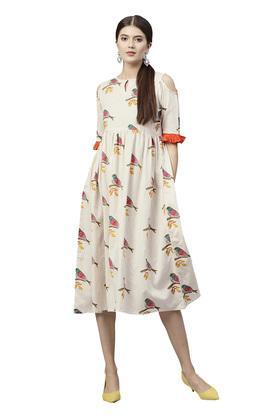 Womens Key Hole Neck Printed Knee Length Dress