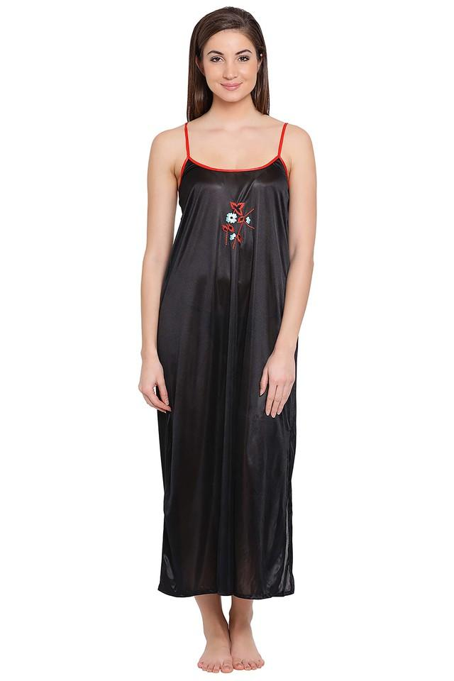 Womens Spaghetti Neck Embroidered Night Dress