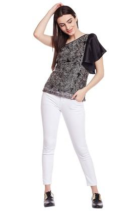 Womens One Shoulder Lace Top