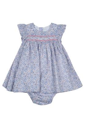 Girls Round Neck Floral Print A-Line Dress with Briefs