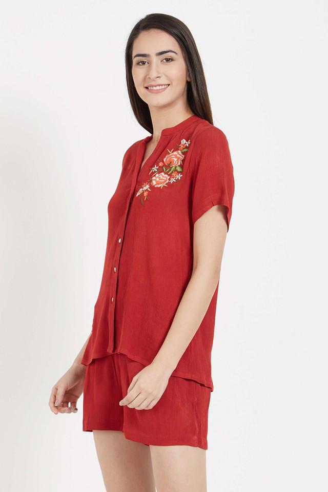 Womens Embroidered Top and Solid Shorts