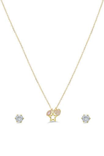 Womens Heart and Star Gold Plated Set