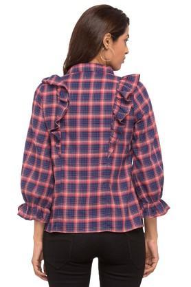 Womens Collared Check Ruffled Shirt
