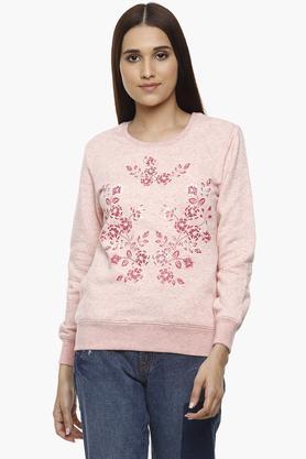 ALLEN SOLLYWomens Round Neck Printed Sweatshirt