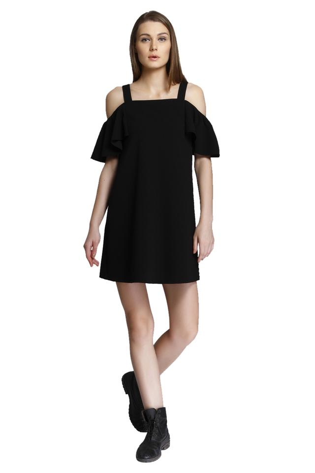 Womens Square Neck Solid Short Dress