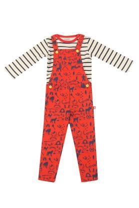 Boys Regular Fit Round Neck Printed Top and Dungarees Set
