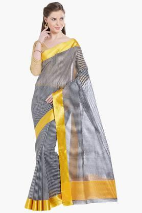 JASHN Womens Checked Art Silk Saree - 203329085