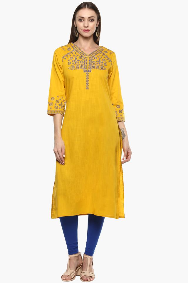 Womens V Neck Solid Embroidered Kurta