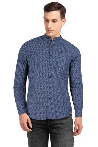 Mens Mandarin Collar Printed Shirt