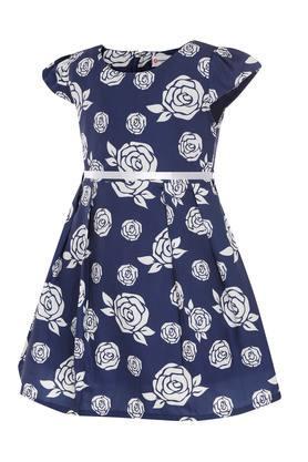Girls Floral Print Flared Dress With Belt
