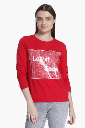 VERO MODA Womens Printed Round Neck Sweatshirt