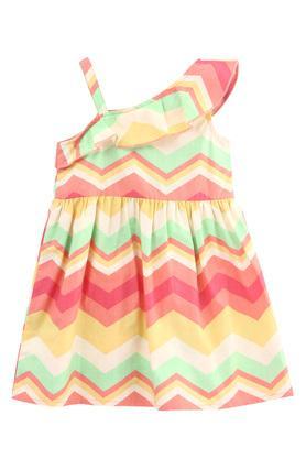 Girls One Shoulder Neck Chevron Print A-Line Dress