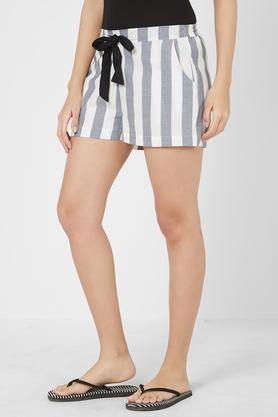 Womens 2 Pocket Striped Shorts