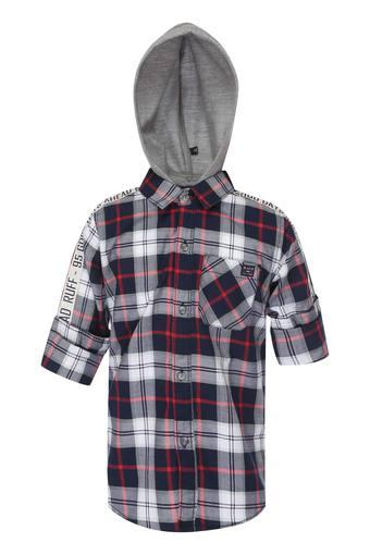 Boys Hooded Neck Checked Shirt