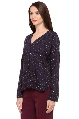 Womens V Neck Printed Shirt