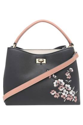 Womens Metallic Lock Closure Satchel Handbag