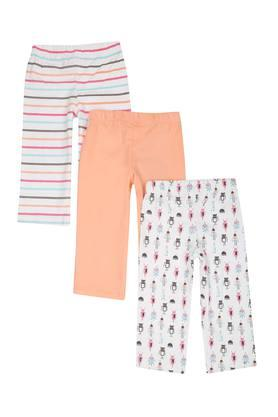Girls Printed Striped and Solid Pyjamas - Pack of 3