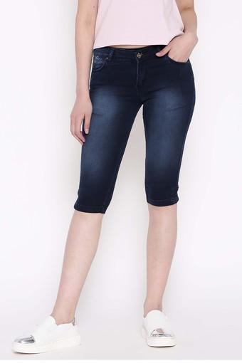Womens 5 Pocket Mild Wash Capris