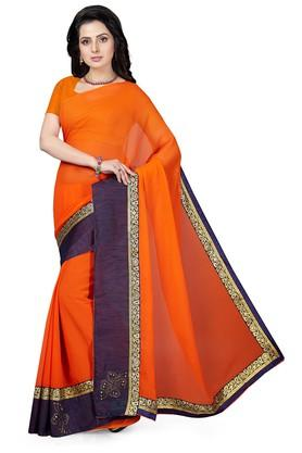ISHIN Womens Printed Saree With Blouse Piece